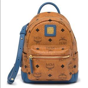 NWT MCM Mini Visetos Cognac/ Blue Logo Backpack